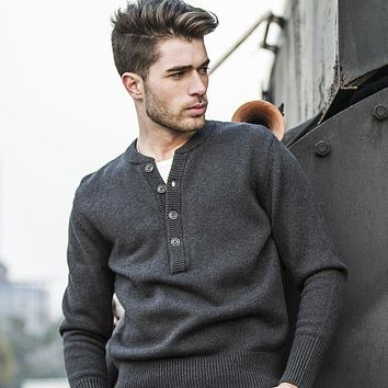 Sweater For Men Casual Henley Collar Pullover Knitted Spliced Cotton Blend Wool Sweater