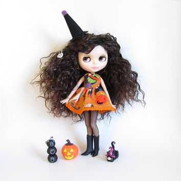Blythe Halloween Dress with Wicked Witch for Neo Blythe Dolls - Orange with Lime Green Bow