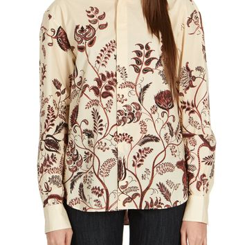 Dior Women's Floral Cotton Button Down Long Sleeve Shirt