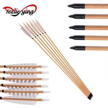 "6pcs 31.5"" Wooden Arrows 20-70lbs 5inch White Turkey Feather Vanes for Traditional Bow White pine Hunting"