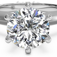 A Perfect 5.5CT Round Cut Solitaire Russian Lab Diamond Engagement Ring