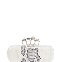 Python Long Knuckle-Duster Clutch Bag, Ivory/Black - Alexander McQueen