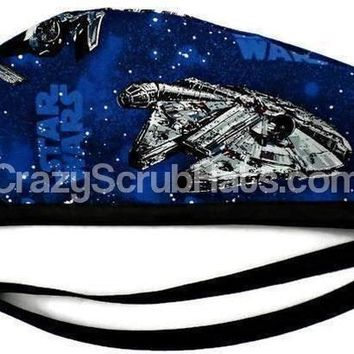 Men's Unlined Surgical Scrub Hat Cap in Star Wars Ships