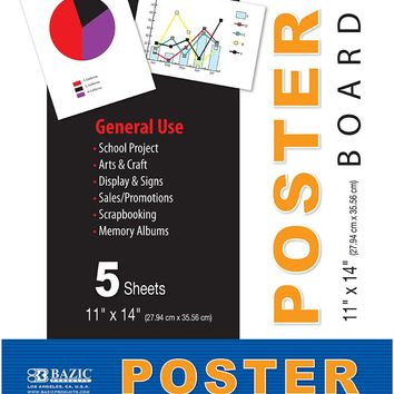 "BAZIC 11"""" X 14"""" White Poster Board (5/Pack) Case Pack 48"