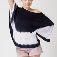 Dyed Print Oversized Cape Tee