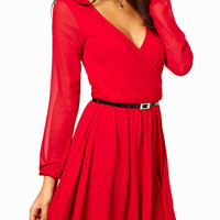 Red Long Cuff Sleeve V-Neck Skater Dress