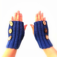Blue Knitted Mittens,  Hand warmers, Fingerless Gloves or Wrist Warmers, Oval Wooden Buttons