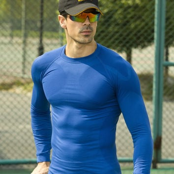2017  workout fitness men long sleeve thermal muscle tight top  -  Hot Product - Get it Now!