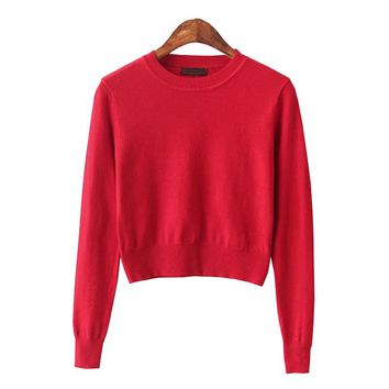 Cropped Sweater Women 2016 Knitted Christmas Sweaters Pull Femme Pink Korean Kawaii Cute Short Jumper Pullovers Sexy Ropa Mujer