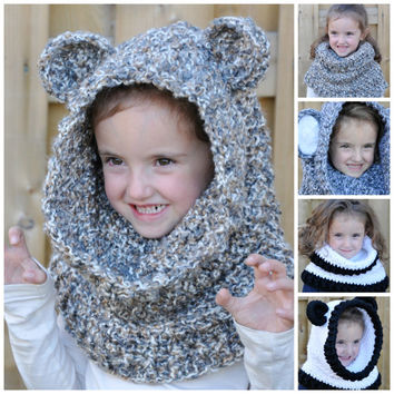 Un'bear'ably Cute Hooded Cowl Crochet Pattern pdf (Scoodie)