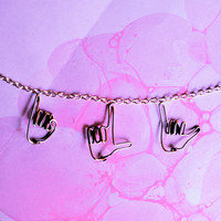 ily sign language necklace - I love you silver hands pendants