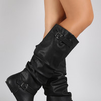 Wild Diva Lounge Cell Phone Pocket Slouchy Knee High Flat Boot