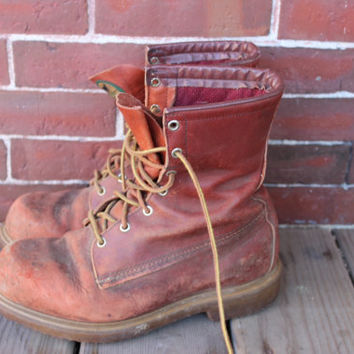 Red Wing insulated lace up irish setter work boots mens 8 eee lace up made in USA