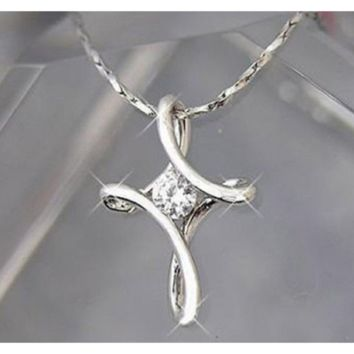 Silver Plated Infinity Cross Pendant Necklace For Women