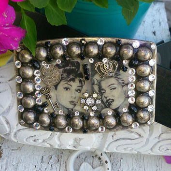 Marilyn Monroe Bling Crystal Belt Buckle One Of A Kind