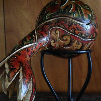 Gourd; Abstract; Handcrafted; Pyrography; Base-relief Carving; Dyes; Acrylics; Watercolor; Polishes