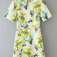 Floral Print Short Sleeve Zippered Dress