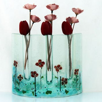 Fused glass Curved vase dwvided to three vases , red Poppies in Calm Aqua blue