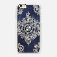 Beautiful Casetify iPhone 7 Case | Cream Floral Pattern on Deep Indigo Ink Design by Micklyn Le Feuvre (iPhone 6s 6 Plus SE 5s 5c & more)