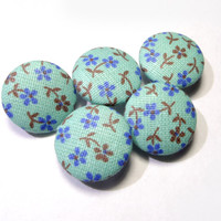 Turquoise blue brown floral buttons, cloth buttons, small buttons, children buttons, Fabric Covered Buttons, retro girl buttons, shabby chic