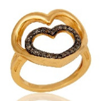 18K Gold Plated Sterling Silver Diamond Heart Shape Ring Love Sign Ring