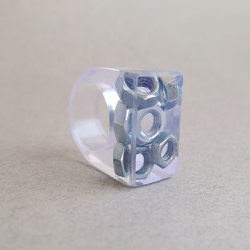 Geekery resin ring with screw-nuts r361 ready to ship christmasinjuly CIJ