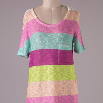 Short Sleeve Tunic Top - Pastel Stripes