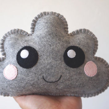 Grey Kawaii Cloud, Cute Cloud, Grey Cloud Softie, Nursery Gift, Nursery Decor, New Baby, Shower Gift, Baby Shower Gift, Gift baby