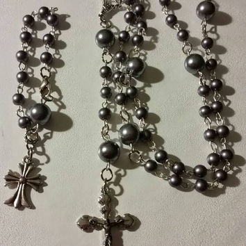 Gorgeous Rosary and Rosary Bracelet Set in Dark Gray Faux Pearls. Dark Gray Faux Pearls Baptism First Communion Confirmation