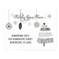 Silver and Black Stylized Holiday Open House | Postcard