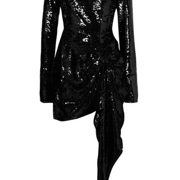You'll Fall For Me Black Sequin Long Sleeve Crew Neck Draped Asymmetric Bodycon Mini Dress