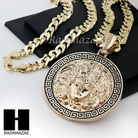 """HIP HOP ICED OUT MEDUSA ROUND PENDANT 24 30 36"""" CUBAN LINK CHAIN NECKLACE N36"""