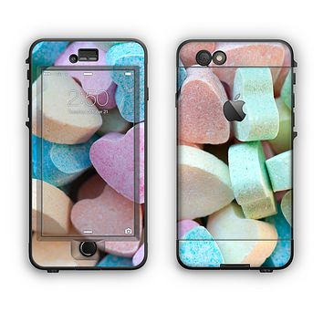 The Multicolored Candy Hearts Apple iPhone 6 LifeProof Nuud Case Skin Set