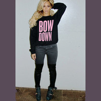 Beyoncé Bow Down GIANT PRINT Unisex Adults Women's Mens Crewneck Sweatshirt / surfboard drunk in love XO drake