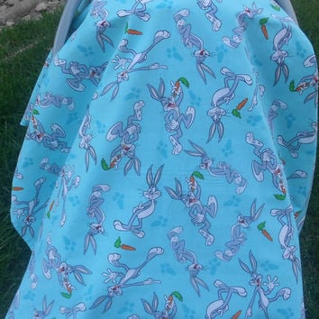 Bugs bunny car seat cover, car seat canopy, Chevron car seat cover