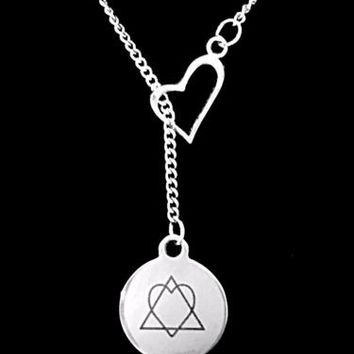 Adoption Symbol Heart In Triangle Adopt Mother Forever Home Gift Lariat Necklace