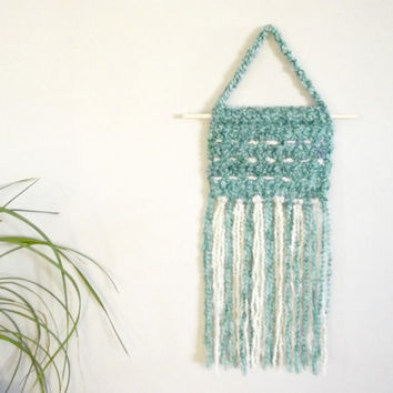 Crochet Wall Hanging Beach Wall Hanging Beach Wall Decor Turquoise Blue Wall Hanging Aqua Blue Wall Art Crochet Wall Decor Boho Chic Decor