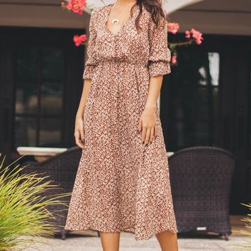 Inspired Brown Floral Print Peasant Maxi Dress