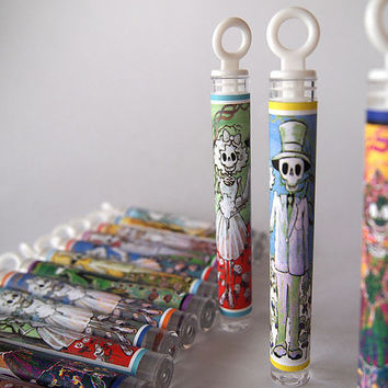 Set 50 Day of the Dead Wedding Bubble Wands. Bride and Groom Bubbles Favors Party Decoration. Colorful Dia de los Muertos Loot Bag Gift