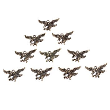 20 Pieces American Eagle Powers Lucky Charm Findings for Jewelry Pendant Necklace Making 24 X 44mm