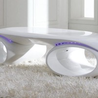 Modrest Tron - Contemporary Glossy White Coffee Table with LED Lights
