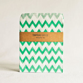 Paper Bags in Aqua Chevron Stripes - Set of 20 - 5x7 Party Favor Kraft Gift Wrapping Packaging Embellishment Sacks Merchandise