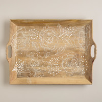 Fortress Bouquet Wood Serving Tray - World Market