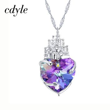 Purple Castle - Cdyle Crystals From Swarovski Necklace Women Pendants S925 Sterling Silver Jewelry
