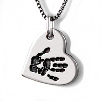 Custom Handprint Heart Pendant - Jak Figler - Made to Order - Necklace - Jewlery - Baby Handprint - Gift - Mother's Day - New moms