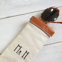 Personalized glasses case, men, women, monogrammed, leather,eye glasses case,sun glasses case,cute, soft, gift under 20