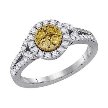 Ladies 14KT WG Canary Yellow Diamond Flower Bridal Ring 0.84CTW