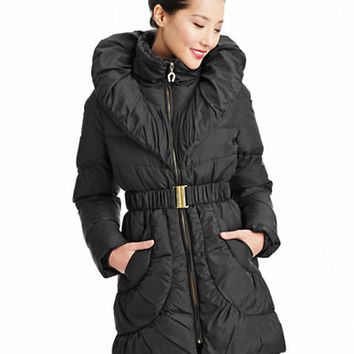 Betsey Johnson Pillow Collar Belted Down Jacket