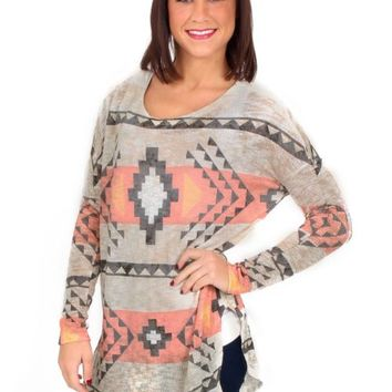 Early Winter Gray And taupe Aztec Knit Tunic | Monday Dress Boutique