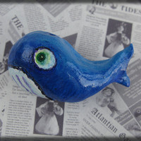 Blue Whale Brooch- Air dry clay whale marine character pin badge